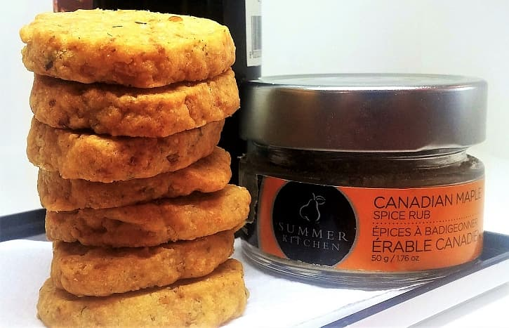 Canadian cheddar maple crisps appetizer